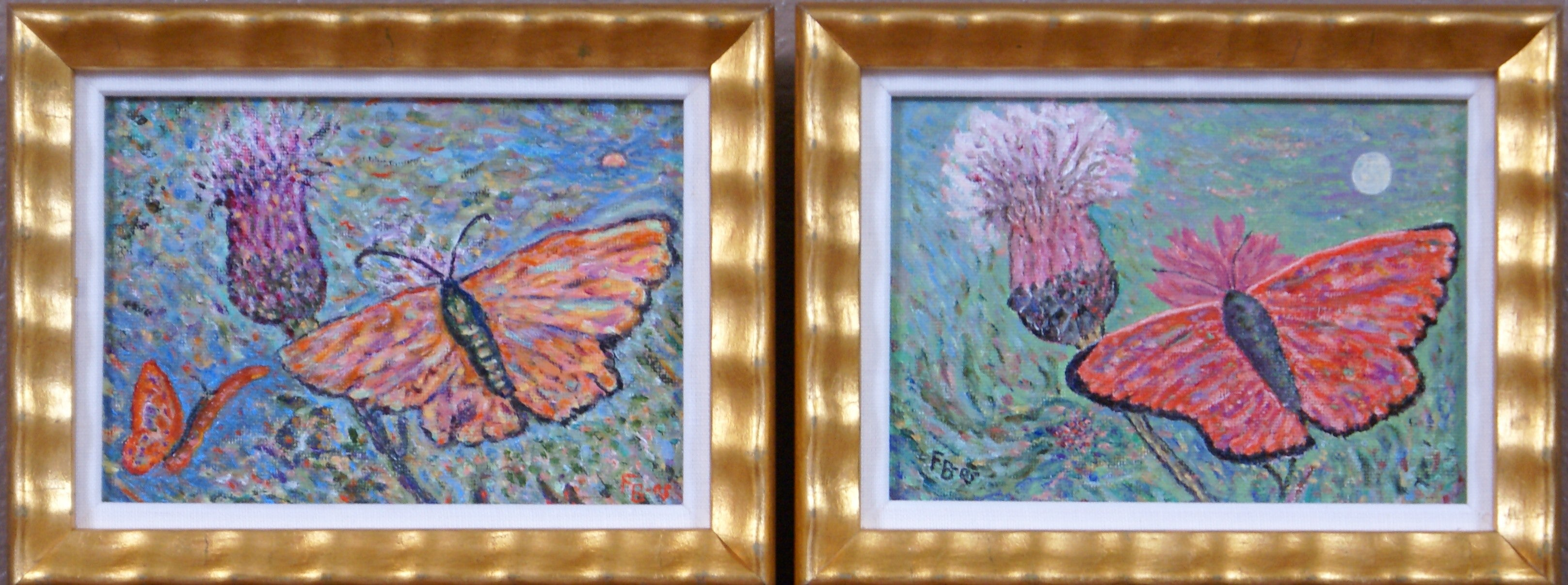 {Pair of Butterfly and Thistle Paintings}