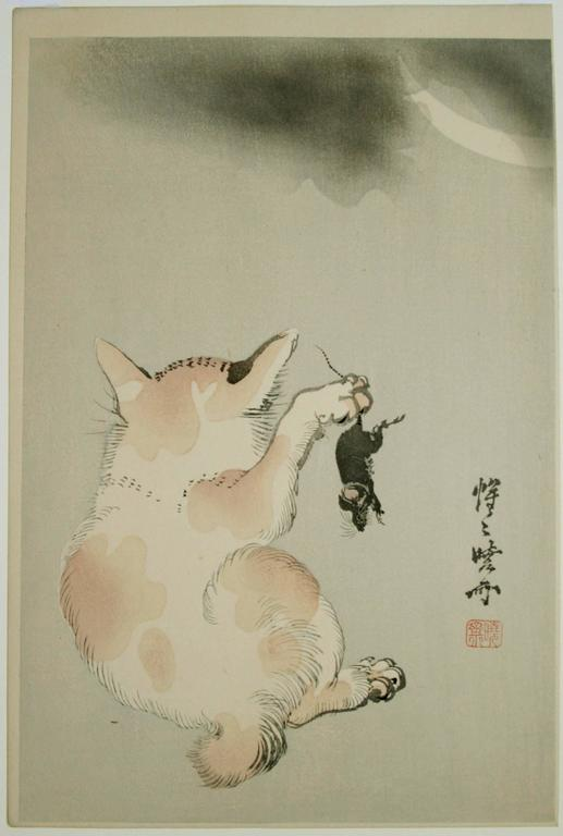 Cat and Mouse Beneath a Crescent Moon. - Print by Kawanabe Kyosai