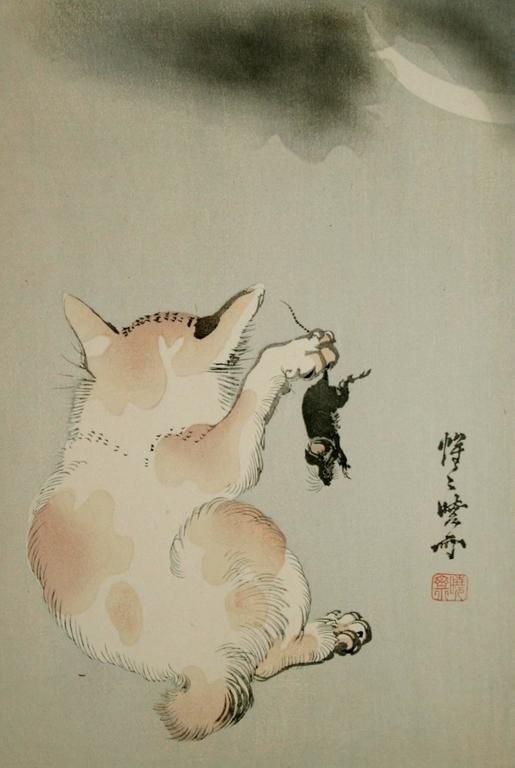 Kawanabe Kyosai Animal Print - Cat and Mouse Beneath a Crescent Moon.