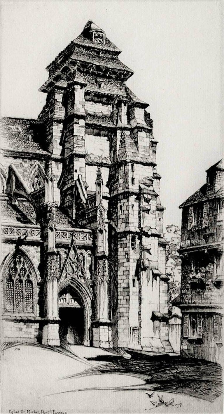 John Taylor Arms Landscape Print - Église Saint Michel, Pont L'Évêque.