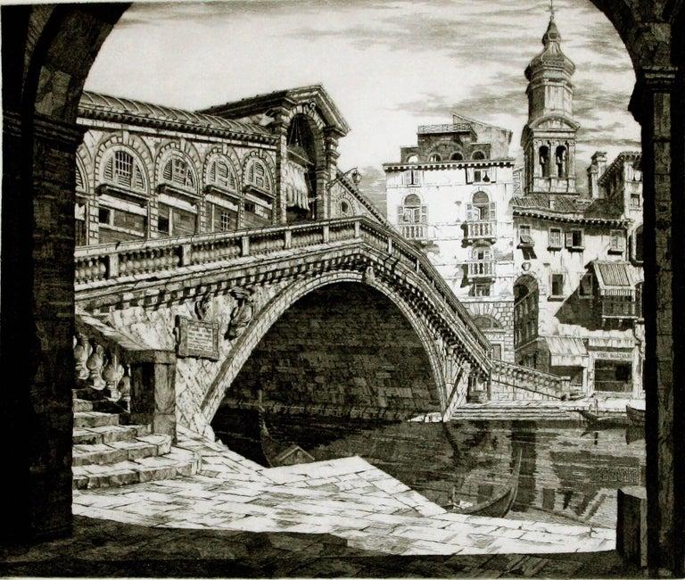 John Taylor Arms Interior Print - Shadows of Venice. (Il Ponte di Rialto, Venezia)