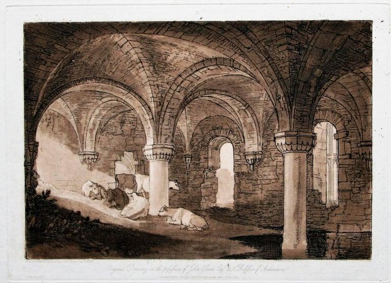 Crypt of Kirkstall Abbey - Romantic Print by J.M.W. Turner