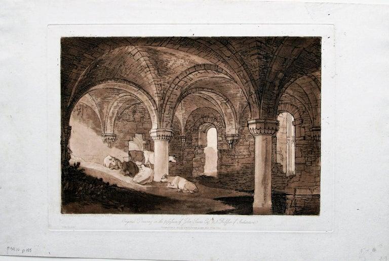 Crypt of Kirkstall Abbey - Black Landscape Print by J.M.W. Turner