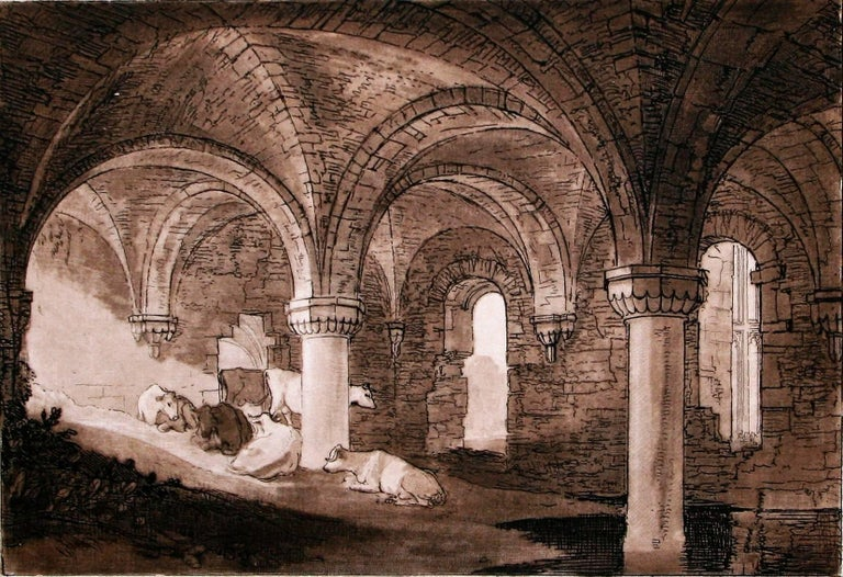 Crypt of Kirkstall Abbey - Print by J.M.W. Turner