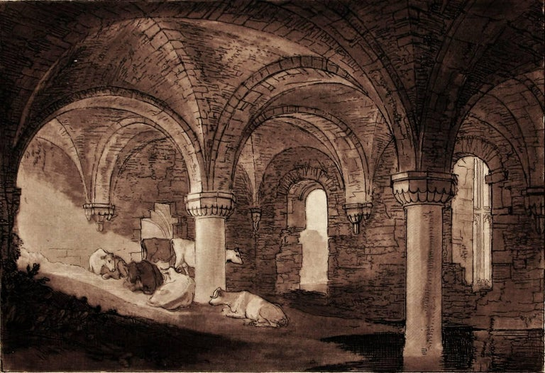 J.M.W. Turner Landscape Print - Crypt of Kirkstall Abbey
