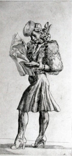 Girl in Fur Jacket Reading Tabloid