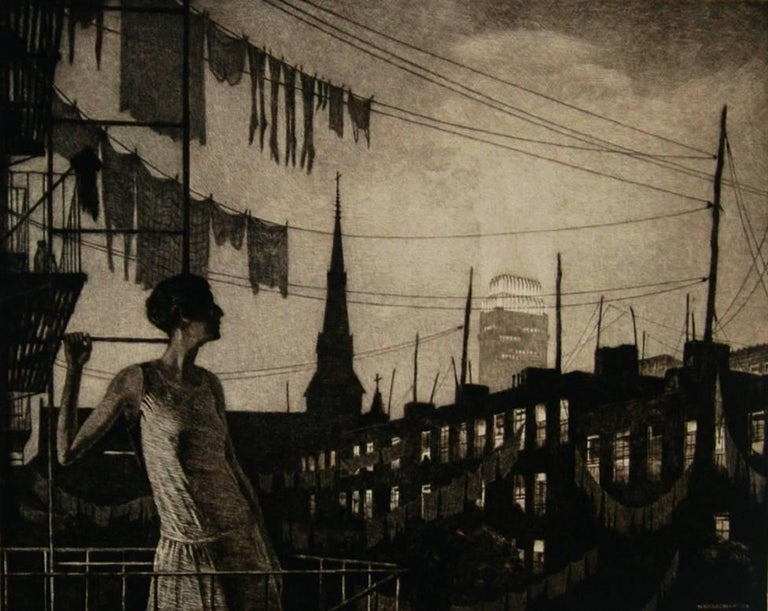 Martin Lewis Figurative Print - The Glow of the City.