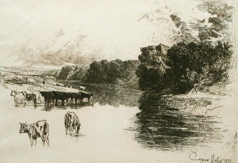 Sir Francis Seymour Haden, R.A. Landscape Print - A Lancashire River.