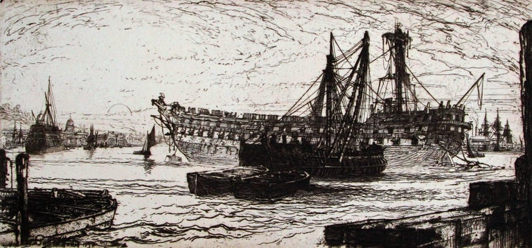 Sir Francis Seymour Haden, R.A. Landscape Print - Breaking up of the Agamemnon, No 1