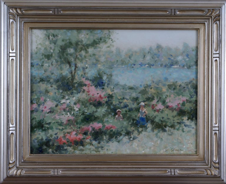 André Gisson Landscape Painting - Mother and Child in a Lakeside Garden