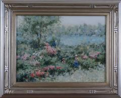 Mother and Child in a Lakeside Garden