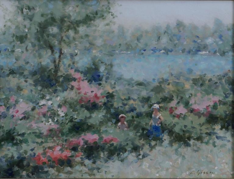 Mother and Child in a Lakeside Garden - Painting by André Gisson