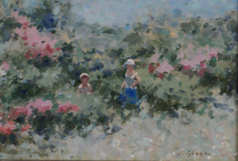 Mother and Child in a Lakeside Garden - Impressionist Painting by André Gisson