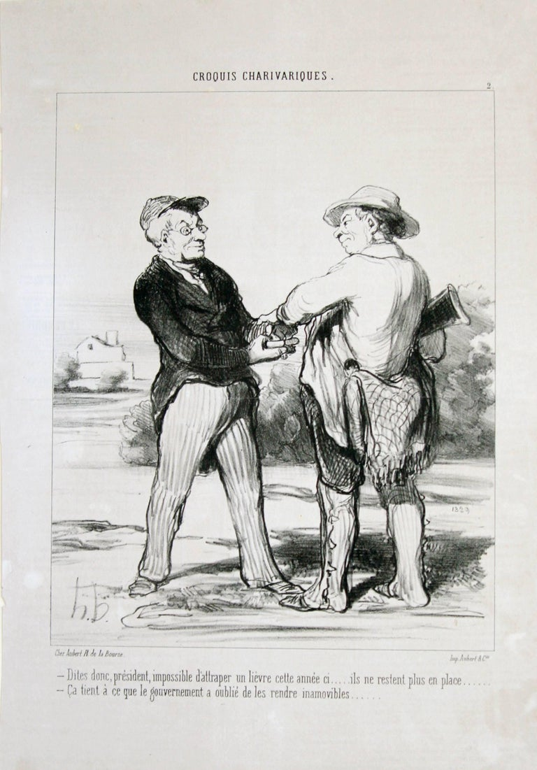 I tell you Mr President.... it is quite impossible to trap a hare this year - Print by Honoré Daumier