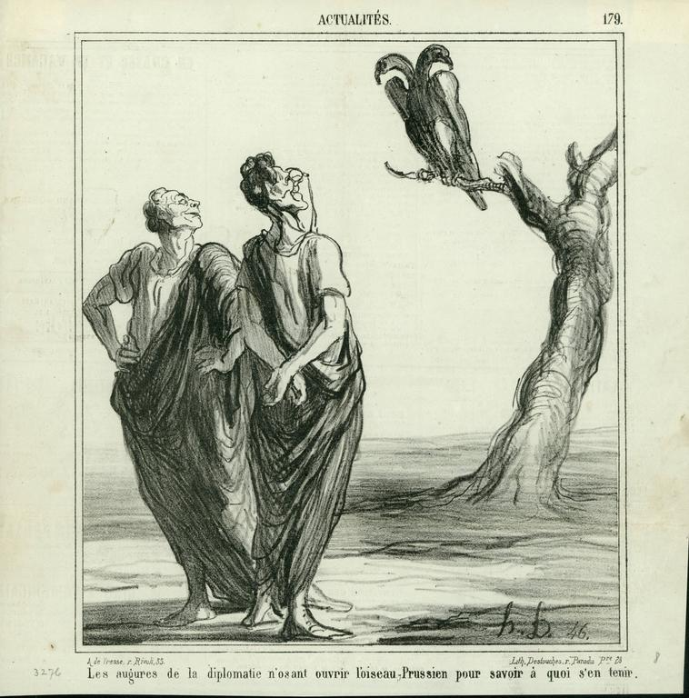The augures of diplomacy, don't dare to open the Prussian bird.... - Print by Honoré Daumier