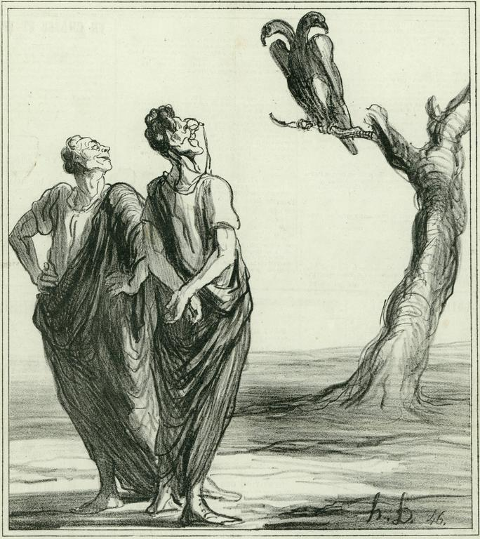 Honoré Daumier Figurative Print - The augures of diplomacy, don't dare to open the Prussian bird....