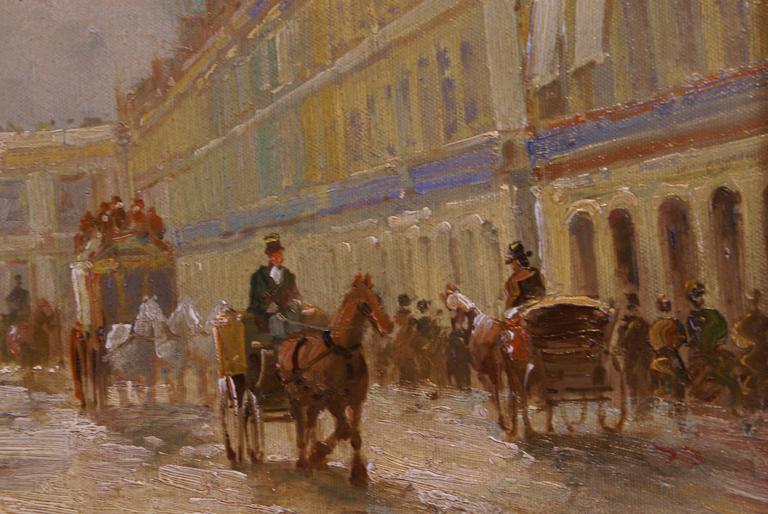 Rue de Rivoli, Paris - Impressionist Painting by T.E. Pencke