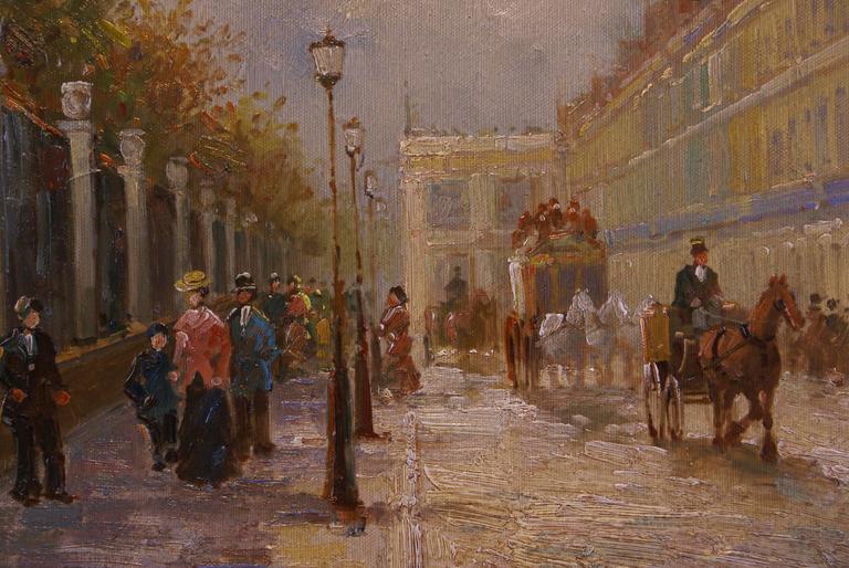 Rue de Rivoli, Paris - Brown Landscape Painting by T.E. Pencke