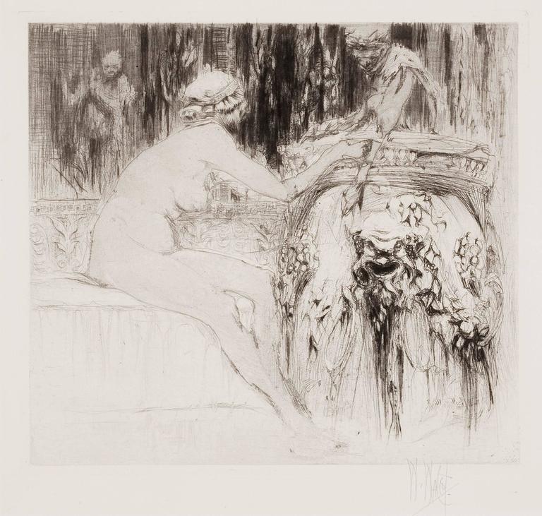 La Bacchante et le jeune Faune (A follower of Bacchus and the Young Faun). - Print by William Walcot, R.E., Hon.R.I.B.A.