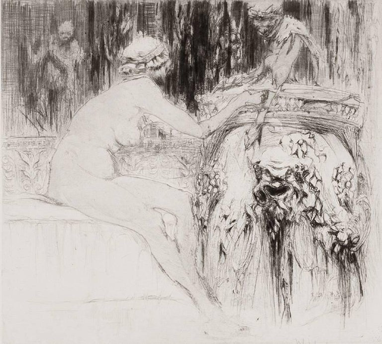 William Walcot, R.E., Hon.R.I.B.A. Figurative Print - La Bacchante et le jeune Faune (A follower of Bacchus and the Young Faun).