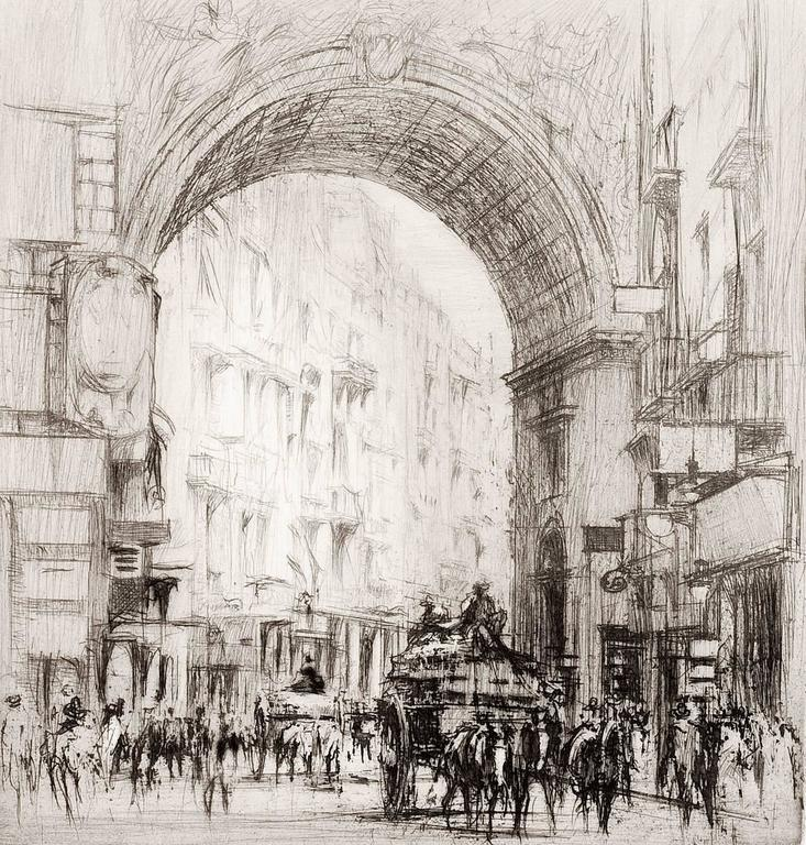 Arc San Carlo, Naples.  - Modern Print by William Walcot, R.E., Hon.R.I.B.A.