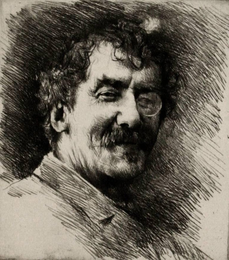 Portrait of Whistler with the White Lock, Wearing a Monocle.