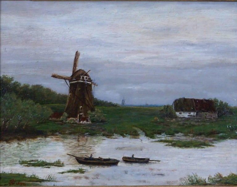 unknown dutch landscape with windmill painting for sale at 1stdibs