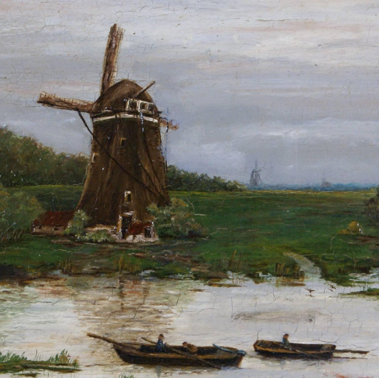 {Dutch Landscape with Windmill} - Old Masters Painting by Unknown