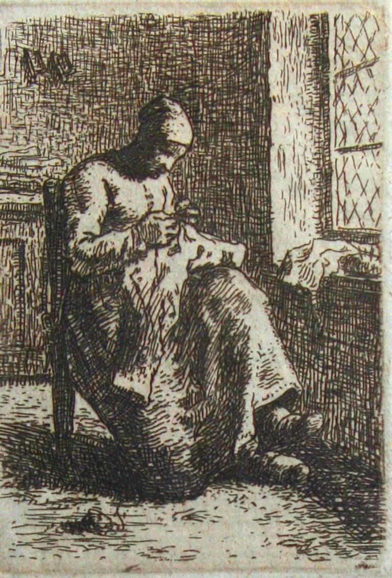 Jean François Millet Figurative Print - A Woman Sewing.