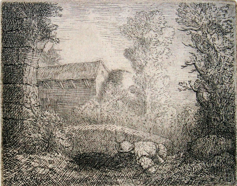 Alphonse Legros Landscape Print - Pont de Moulin. (Mill Near the Bridge)