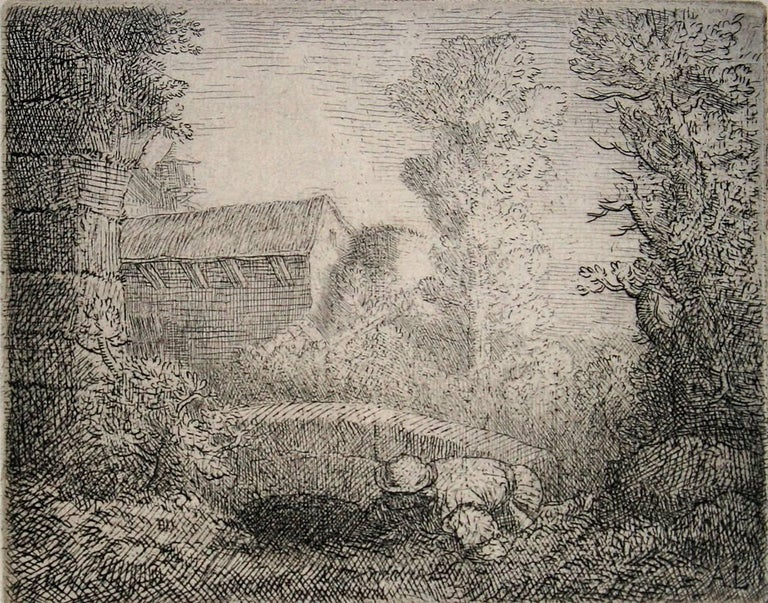 Pont de Moulin. (Mill Near the Bridge) - Print by Alphonse Legros