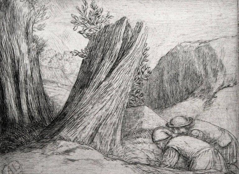 Alphonse Legros Figurative Print - Chercheurs du Trésor (Treasure Hunters).