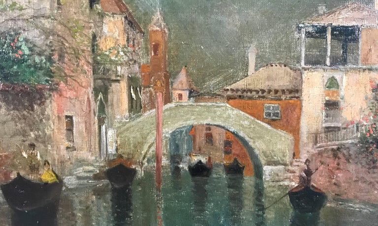A Venetian depiction of Italian architecture, gondolas, bridge and distant campanile, with an emphasis on light and water, Oil on canvas measures 15 3/8 x 18 3/8, housed in elegant frame, measures 20 3/4 x 23 3/4 x 2 1/2. Weight is 7 1/4 lbs.  A