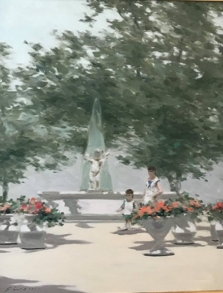 Garden with Fountain - Painting by André Gisson