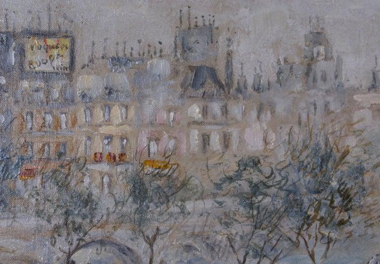 {View of Paris} - Gray Landscape Painting by Cesar A. Villacres