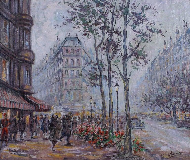 {Parisian Scene} - Painting by Cesar A. Villacres