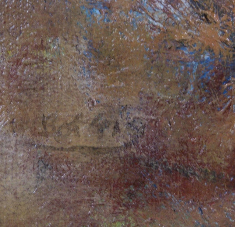 Clown with Orange Wig - Gray Landscape Painting by Henry Botkin