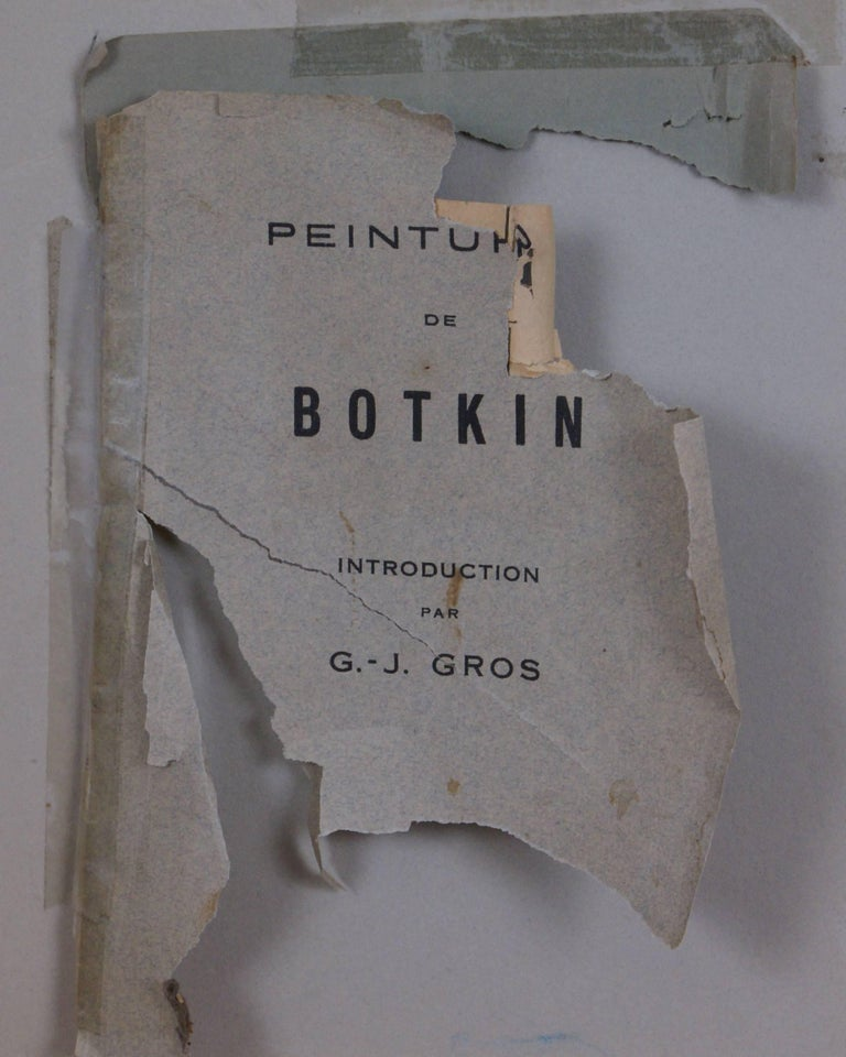 Oil on canvas laid on board measures 14 3/4 x 9 7/8; frame dimensions measure 22 3/8 x 17 x 3 1/4. Artist's signature, lower left.  A fragment of a gallery brochure entitled, Peintures de Botkin is included with the painting. A partial title for the