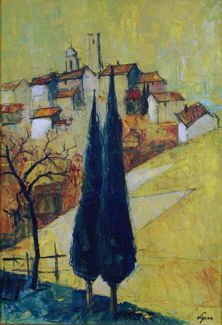 {Village de  Provençe} - Painting by Bernard Lignon