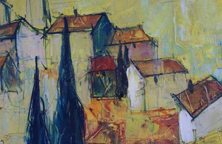 {Village de  Provençe} - Post-Impressionist Painting by Bernard Lignon