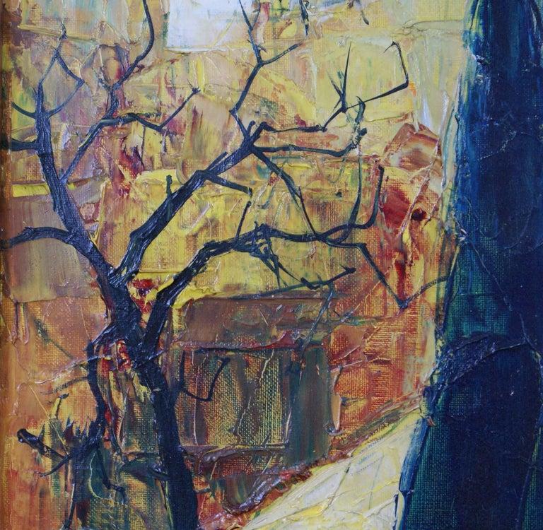 {Village de  Provençe} - Brown Landscape Painting by Bernard Lignon