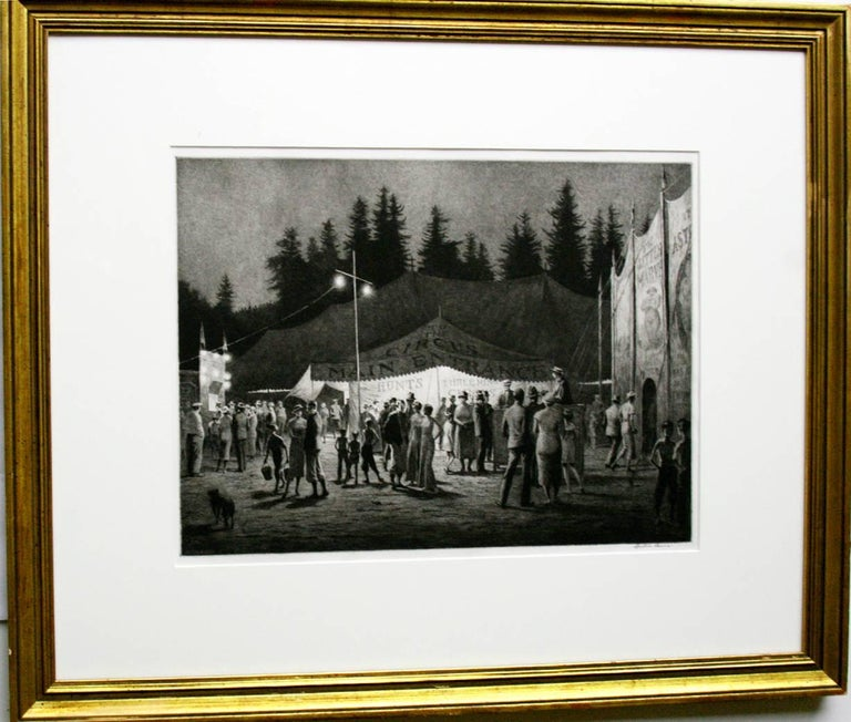 Circus Night. 1933. Drypoint and sand ground. McCarron 103. 11 1/8 x 14 7/8 (sheet 12 x 15 1/2). Edition 43 recorded impressions, some unsigned. Illustrated: Fine Prints of the Year, 1934. A rich, tonal impression printed on [S]WEDEN wove paper.