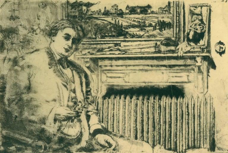 Man By a Radiator. - Print by Clifford Isaac Addams