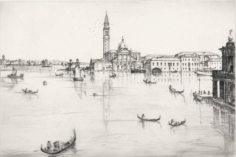 Kenneth Holmes, A.R.C.A. Landscape Print - San Giorgio, Maggiore, Venice.