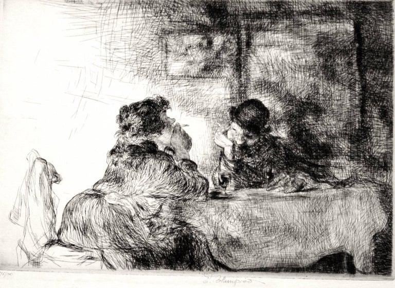 Edmund Blampied Portrait Print - Chez Madame Dupont