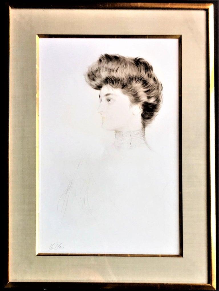 Alexandra of Denmark, Queen of England. - Gray Portrait Print by Paul César Helleu
