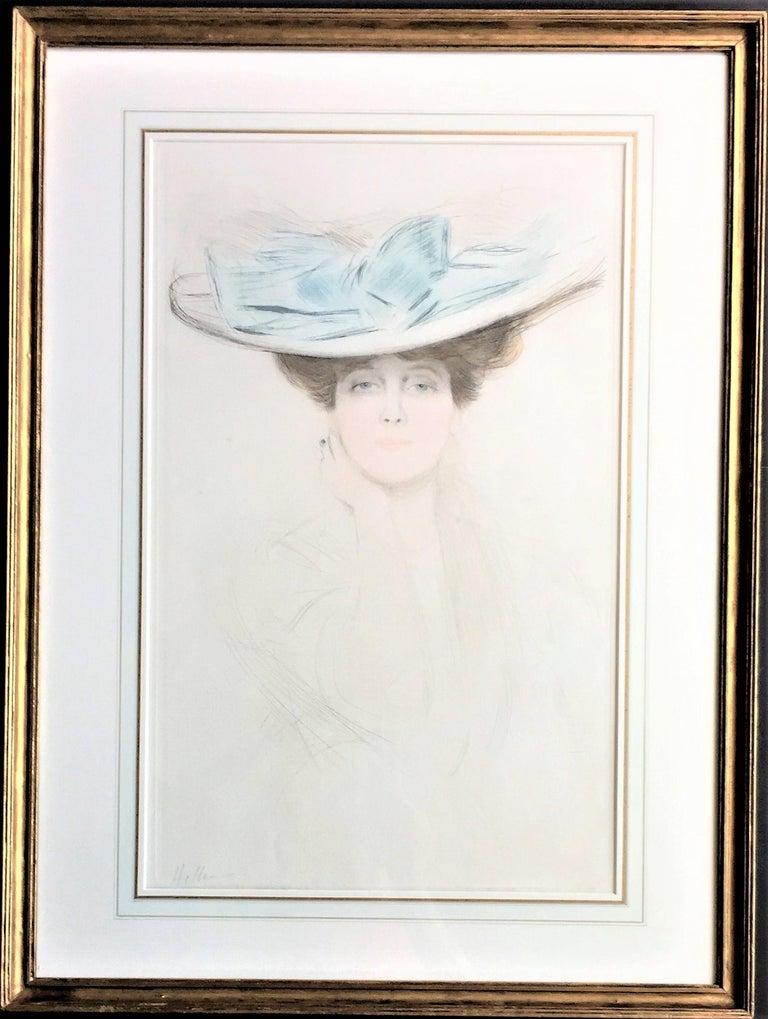 Le Noeud Bleu (The Hat with the Blue Bow). - Art Nouveau Print by Paul César Helleu