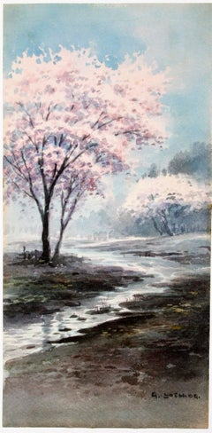 Cherry Blossoms in a Misty Landscape