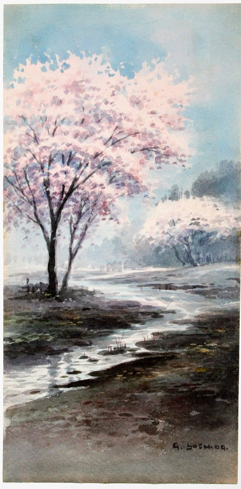 A Yoshida Cherry Blossoms In A Misty Landscape For Sale