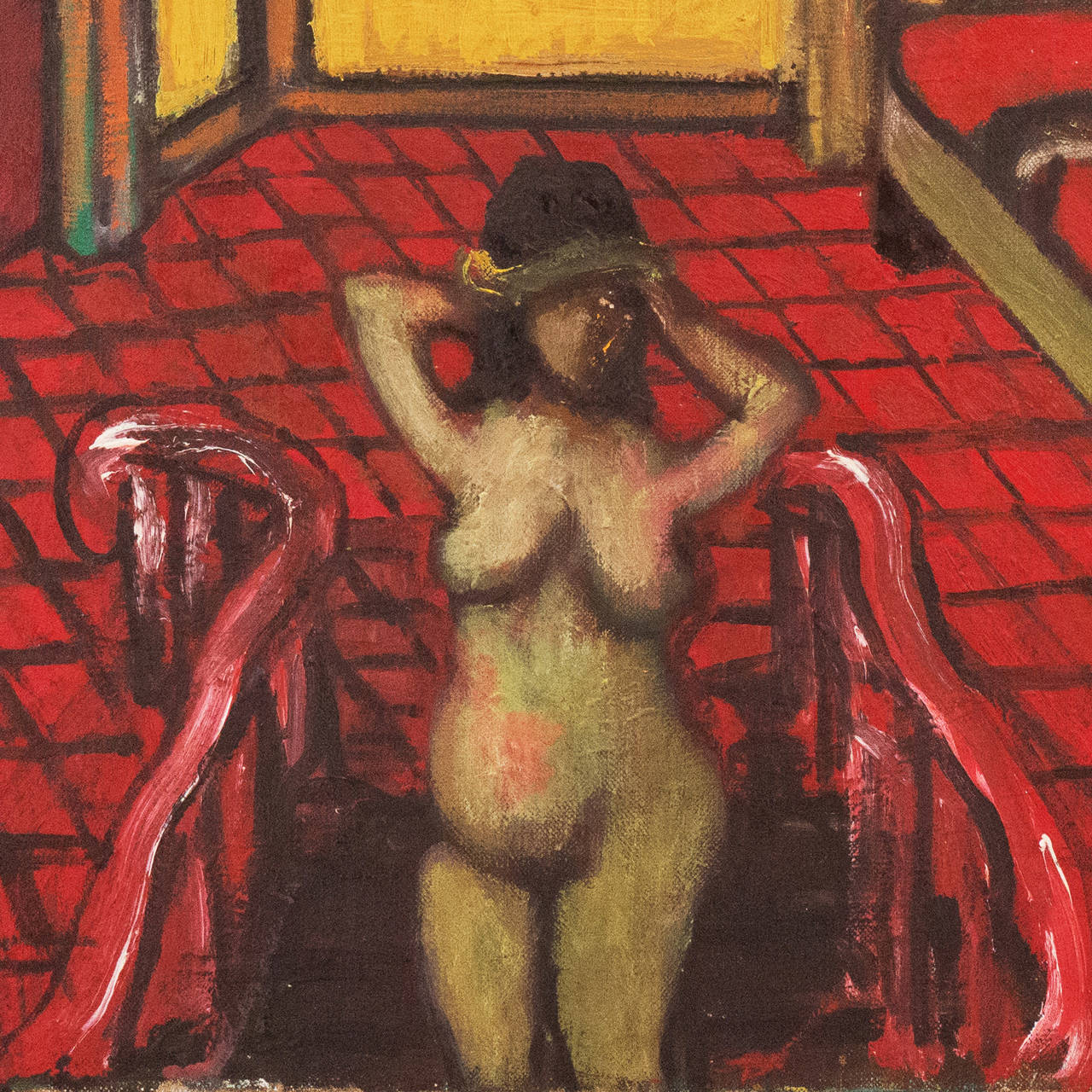 Large Post-Impressionist Interior with a Nude on a Staircase - Brown Figurative Painting by Sasha Moldovan